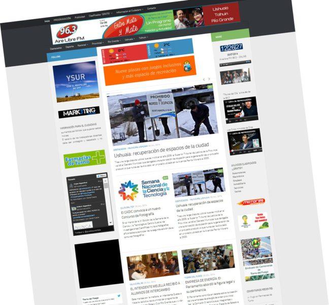 AIRELIBRE.COM.AR Portal de noticias MÁS IMPORTANTE de Tierra del Fuego  Desarrollo Web realizado por Mark3ting.com.ar